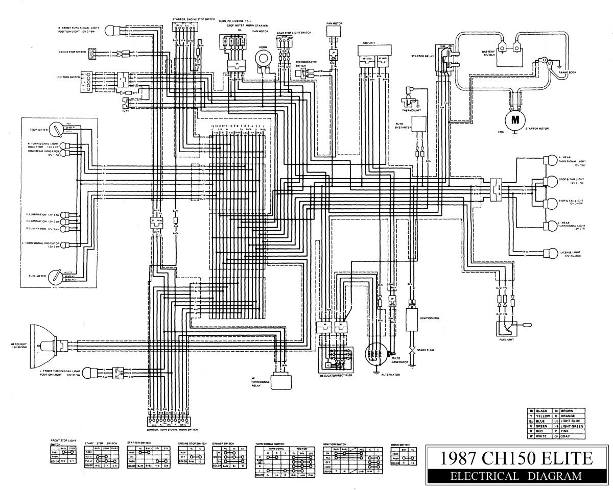87 Honda Elite Ch150 Wiring Diagram Ignition 250 50 Service Manual Headlight Will Not Work Because Of Starter On