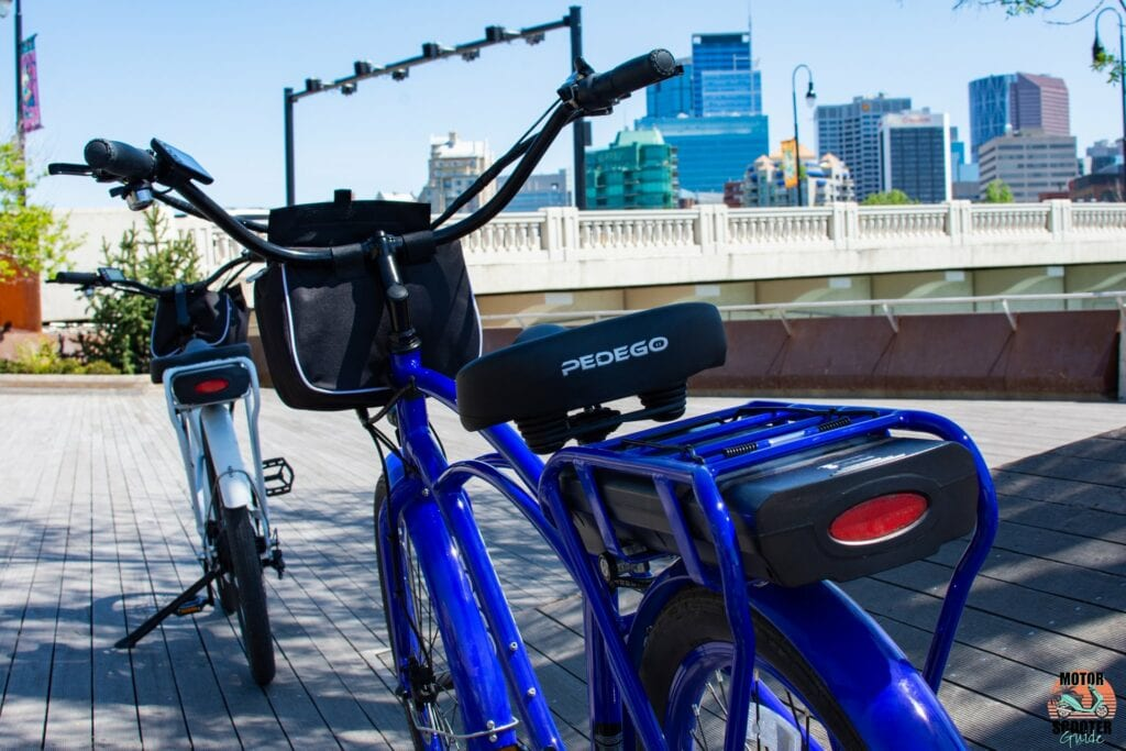 Blue 2021 Pedego Interceptor rear review with battery pack