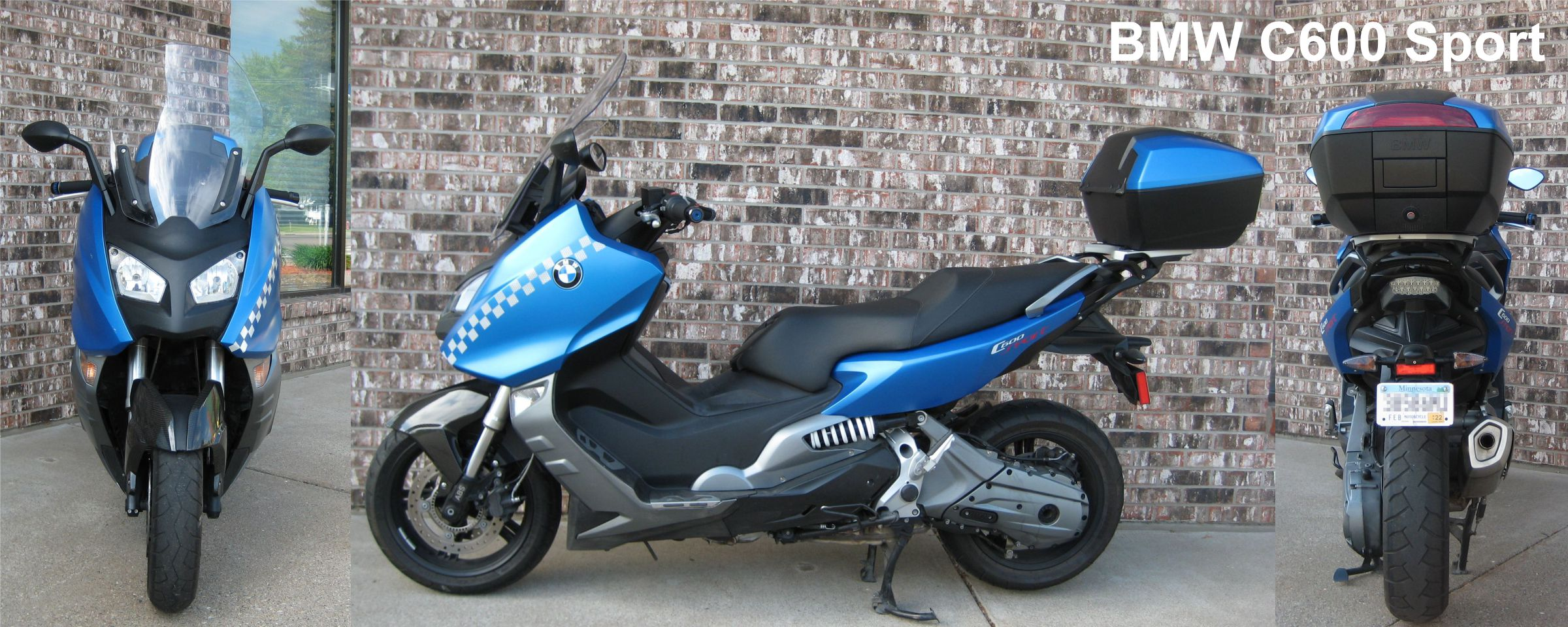 Front, side, and rear view of BMW C600 Sport