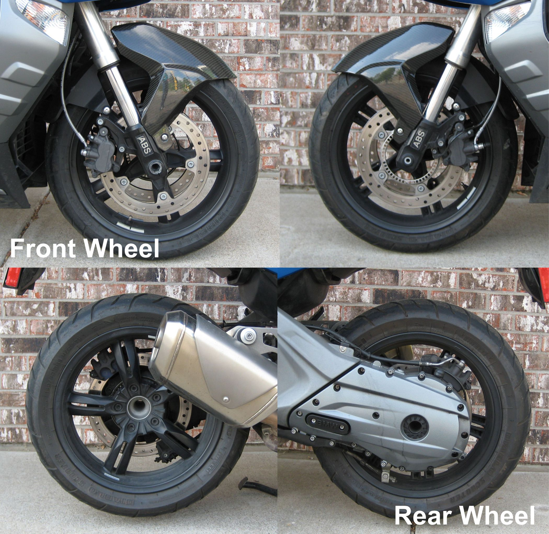 Front and Rear wheel of BMW C600 Sport