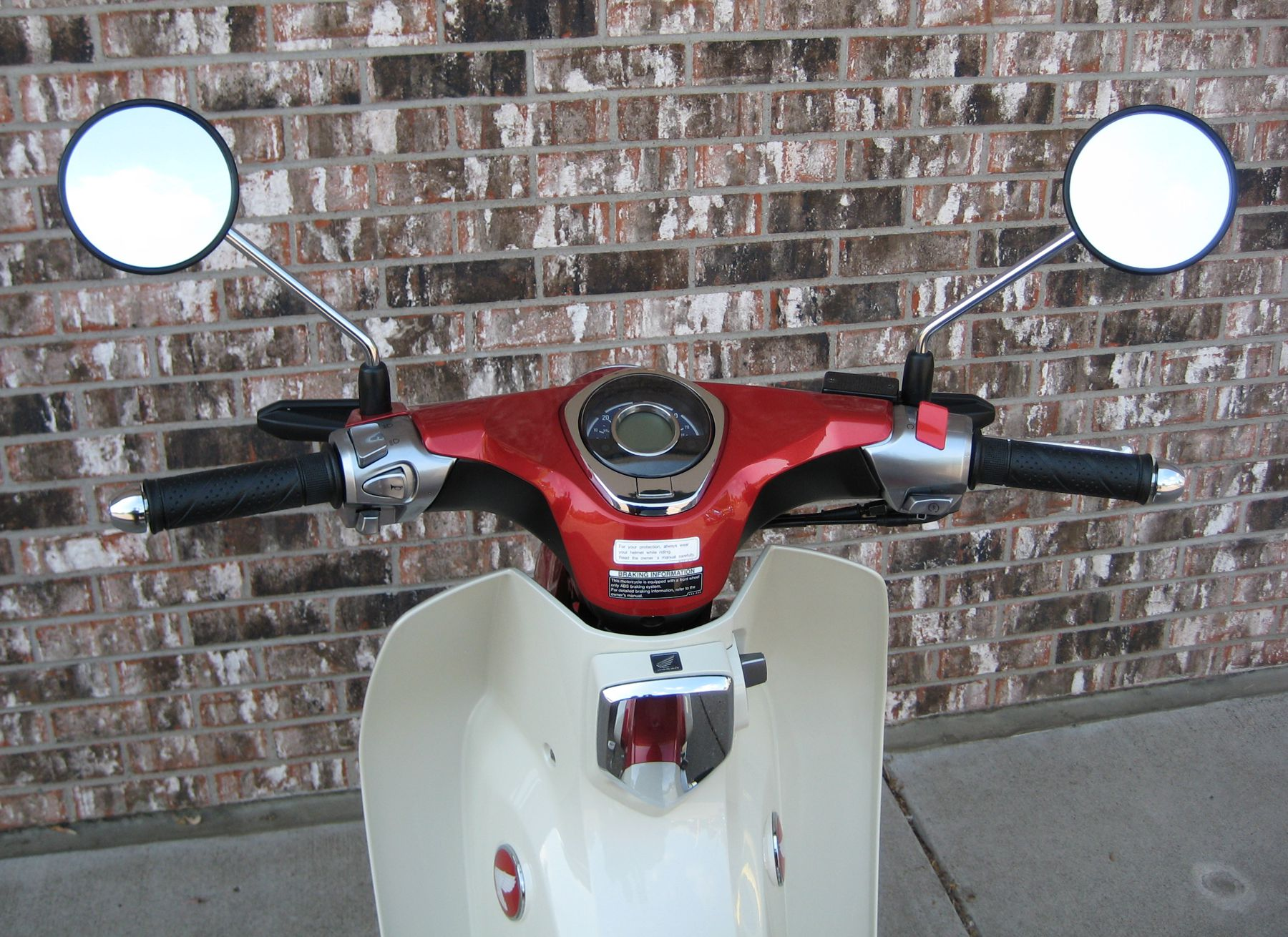 Rider view of the handlebars and dash cluster