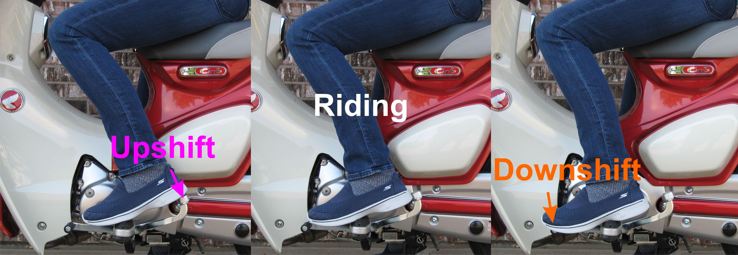 Different foot shift positions