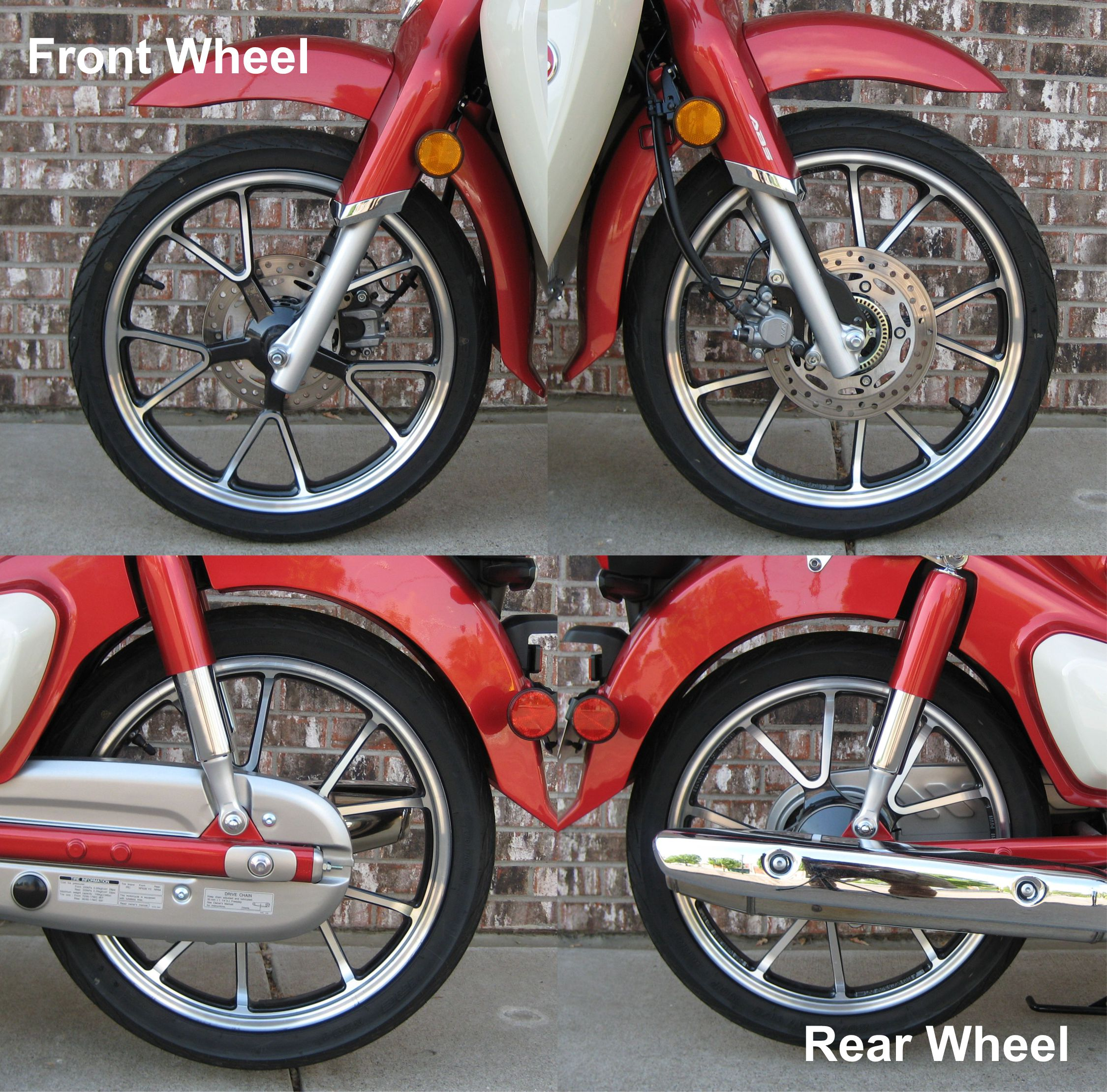 Side by side comparisons of front and rear wheels on Super Cub