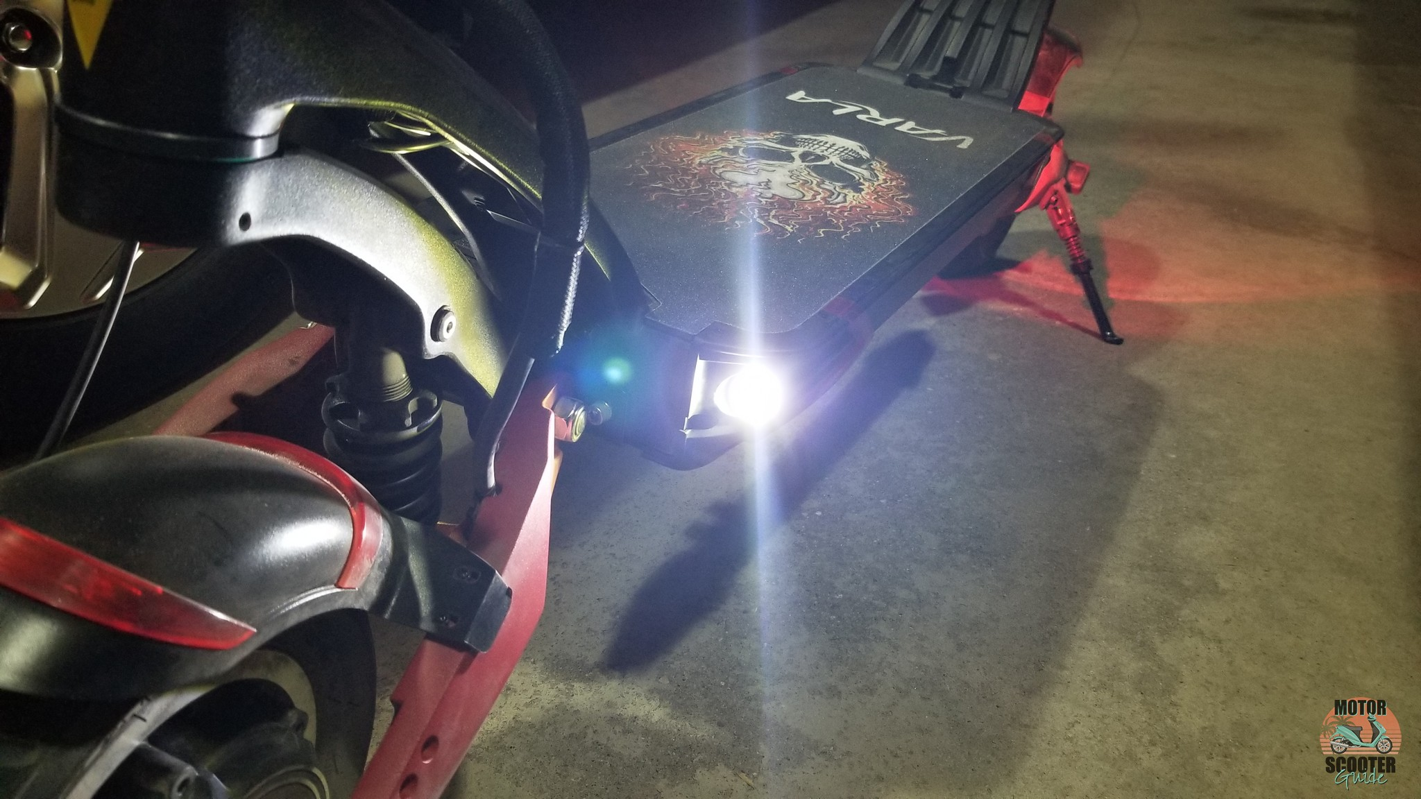 Front LED headlights on Varla scooter