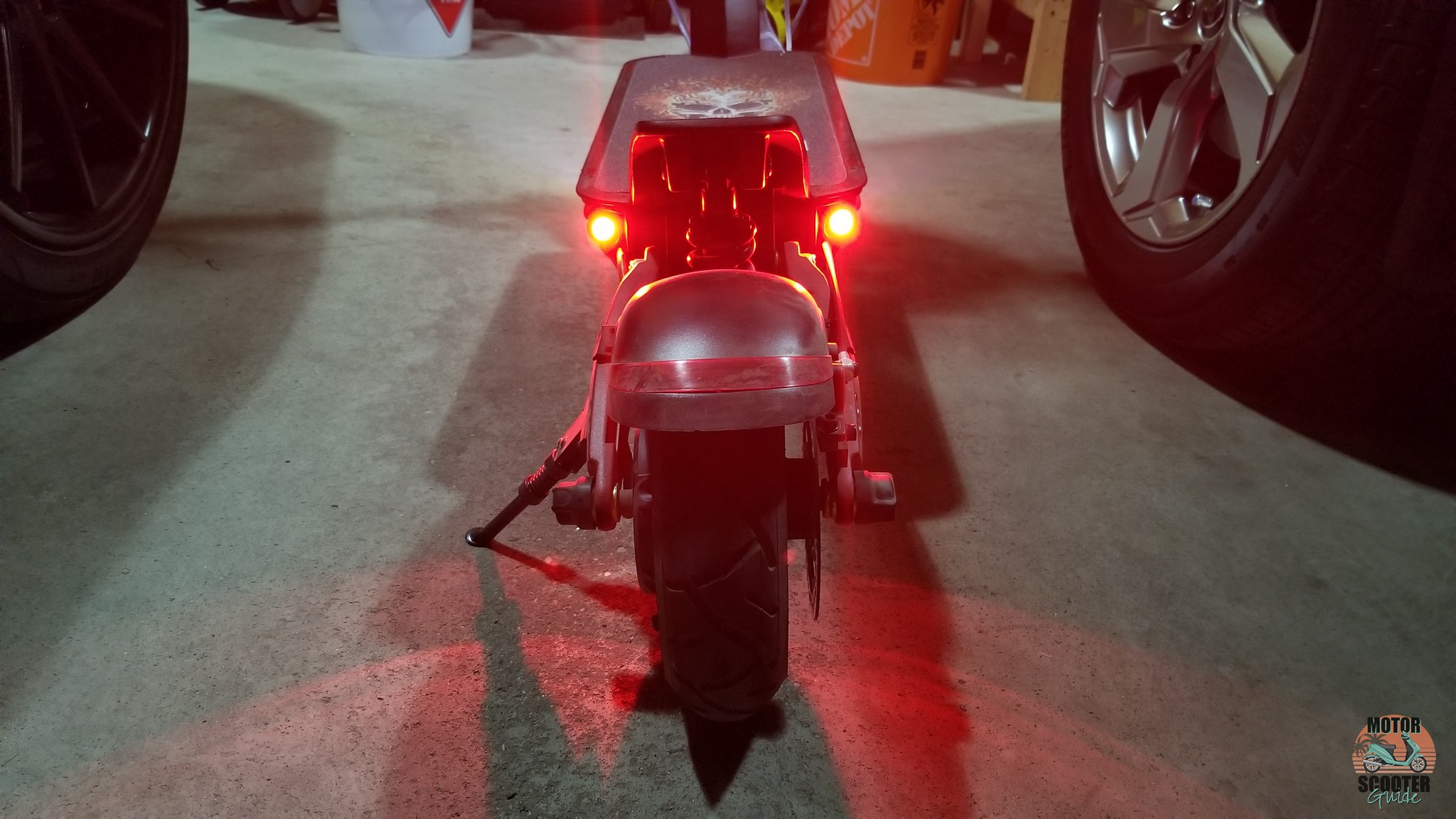 Rear red LED taillights on Varla scooter