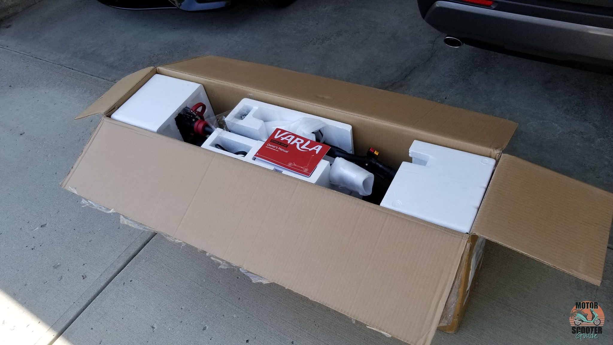 Shipping cardboard box with top open