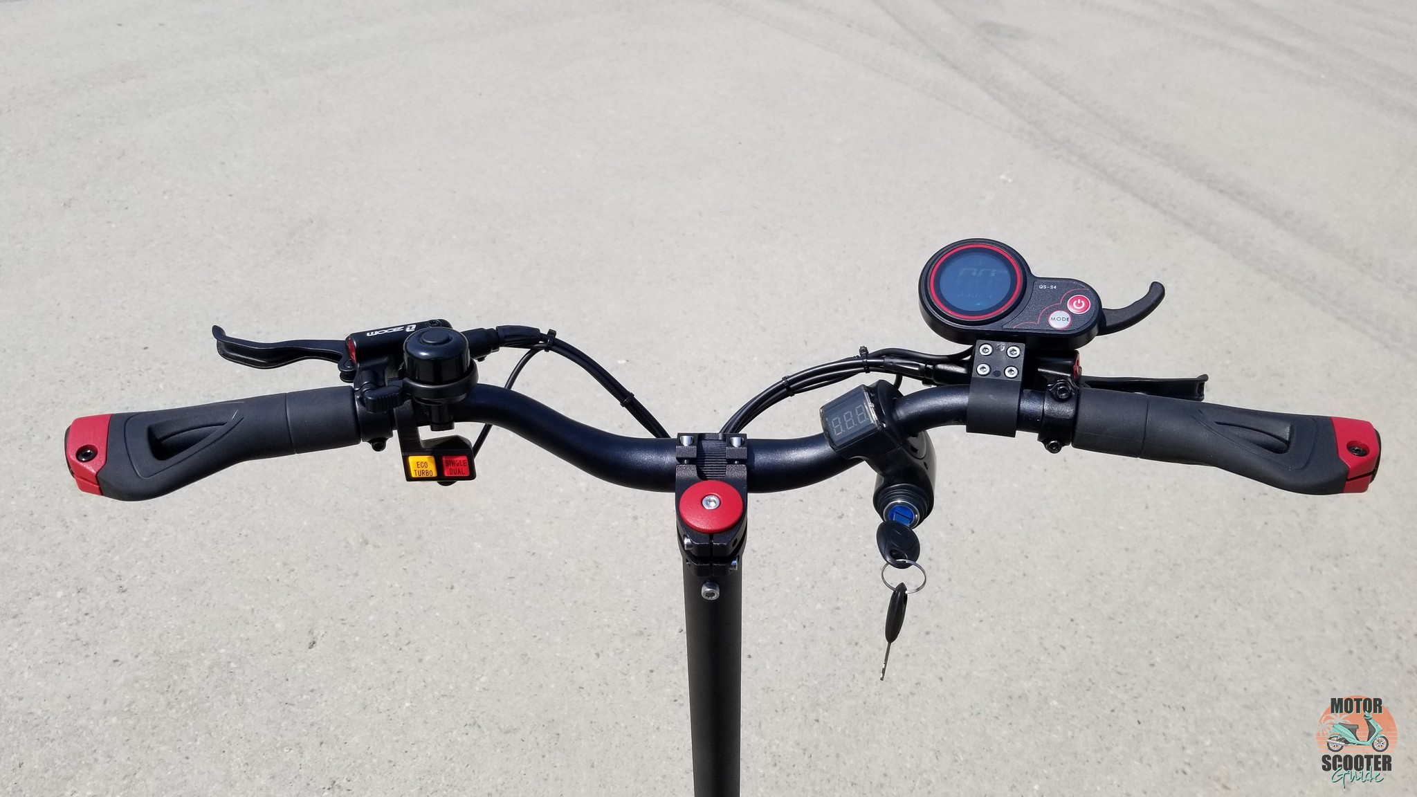 Rider view of the handlebar with various gadgets mounted