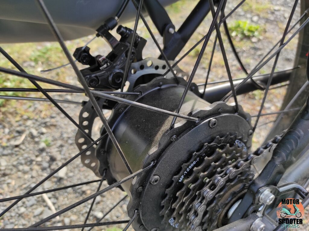 Close-up of the hub motor on the 2021 Himiway All-Terrain Cruiser