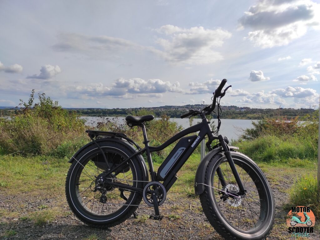 Right-side view of 2021 Himiway All-Terrain Cruiser parked near lake