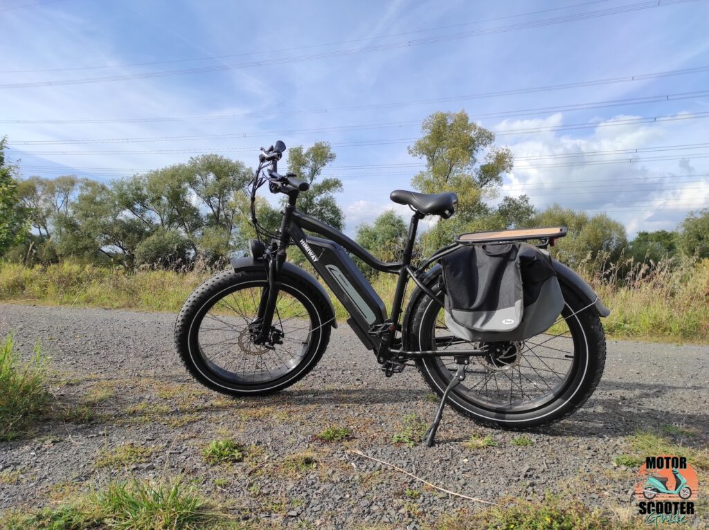2021 Himiway All-Terrain Cruiser parked on dirt road with kickstand down