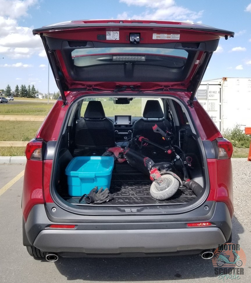 Eagle One scooter loaded up in the back of a 2021 Toyota RAV4